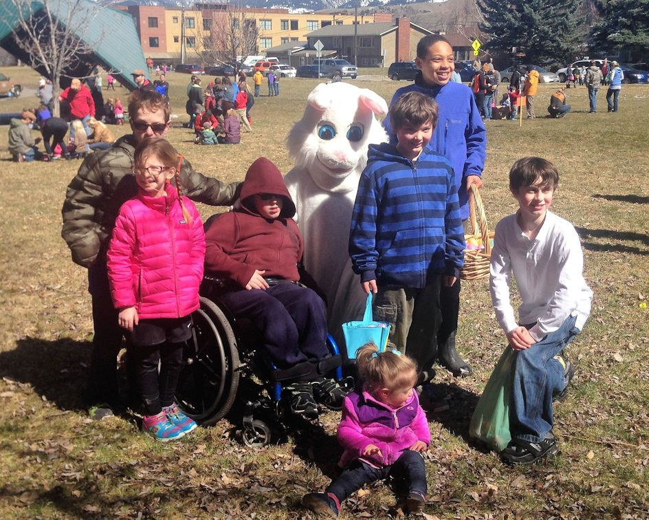 2016 Special Needs Easter egg hunt kids with Easter bunny
